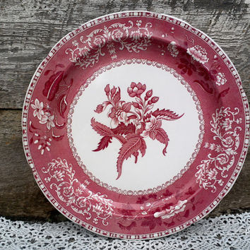 """Red Transferware 12"""" SPODE CAMILLA Chop Plate or Platter, Charger, Ironstone Pattern of Red and White Floral, Serving, English Transferware"""