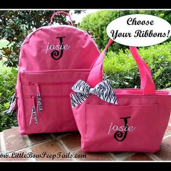 Zebra Gift Set - Initial Name Monogrammed Backpack and Lunchbox - Personalized Custom Colors School Girls Back Pack Book Bag kids childrens