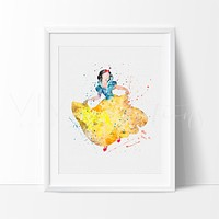 Snow White Watercolor Art Print