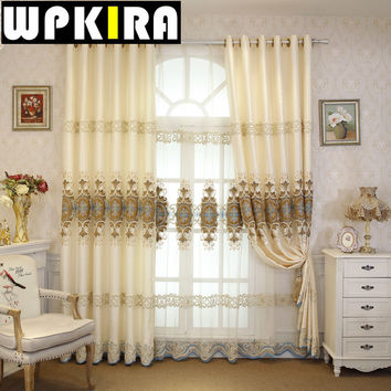 Thicker Jacquard Cotton European Velvet Embroidered Curtains Luxurious Villa Living Room Cortina Bedroom Lace Curtains -30