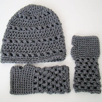 FREE SHIPPING - Textured Slouch Crochet Beanie Hat and Fingerless Gloves Set - Heather Gray Set