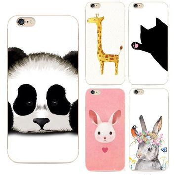 LMFUS4 For Iphone6 Fashion Cute Animal Panda Tiger Owl Cartoon Painted Case For Apple Iphone 6 6s Soft Hard Cell Phone Silicone Cover