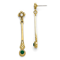 Gold Tone Downton Abbey Emerald Green Elongated Dangle Earrings