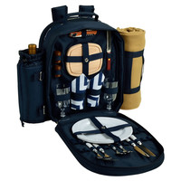 Picnic Backpack Cooler for Two, Navy, Picnic Baskets