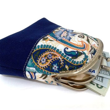 Blue Kiss lock Wallet - Double Coin Purse with cards slot - Clutch Purse - Double Pockets - Antique Bronze Frame
