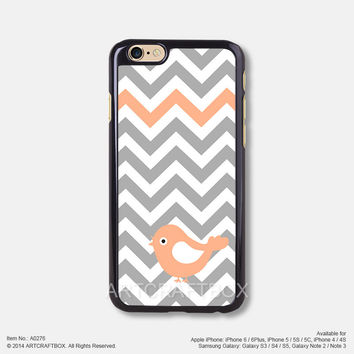 Gray Chevron Coral Bird Free Shipping iPhone 6 6Plus case iPhone 5s case iPhone 5C case 276