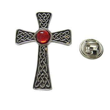 Large Celtic Cross with Red Center Lapel Pin