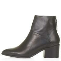 MIDNIGHT Leather Zip-Back Boots - Topshop