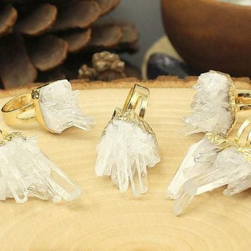 Gold Plated Raw Clear Crystal Quartz Cluster Ring