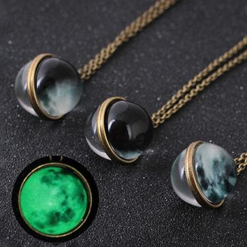 Duplex Planet Crystal Stars Ball Glass Galaxy Pattern Leather Chain Pendants Maxi Necklace For Womem Girlfriend Gift