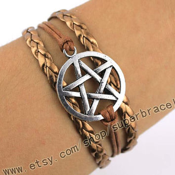 "Star pentagram bracelets, bracelets, Antique Silver Bracelet, Antique Silver Bracelet, ""women cuff Bracelet, bridesmaid gift"
