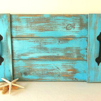 Pallet Wood Tray Turquoise Blue reclaimed wooden weathered distressed Nautical Beach Decor Rustic tray, Coastal Decorative serving tray
