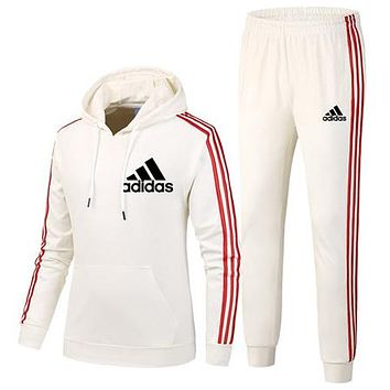 ADIDAS 2018 autumn and winter new trend women's sports and fitness two-piece white