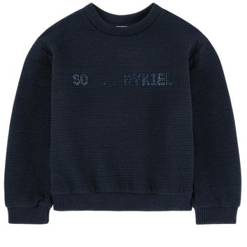 Sonia Rykiel Girls Navy Blue Logo Sweatshirt
