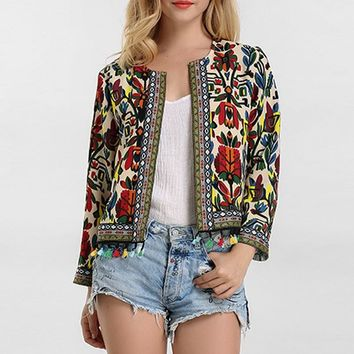Trendy 5XL Women Jackets Vintage Floral Print Embroidery Coat 2018 Autumn Long Sleeve Tassel Cardigan Ladies Office Outerwear Plus Size AT_94_13