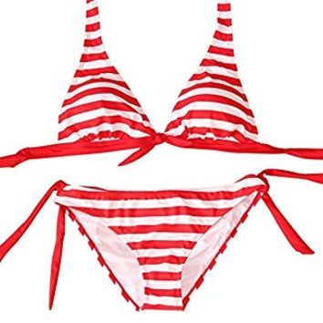 Women's Fashion Sexy Lingerie Striped Swimwear Summer Waist Adjustable Bikini Sets