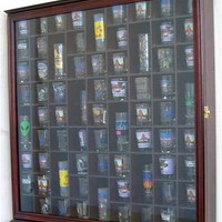 71 Shot Glass Display Case Rack Holder Cabinet, with glass door, CHERRY FINISH (SC08-CH)