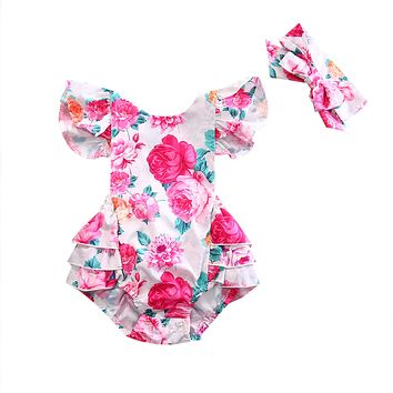 2PCS Newborn Baby Girls Floral Clothing Ruffles Skirted Kids Jumpsuit Headband Infant Bebes Sunsuit Outfits Clothes