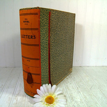 The Rival File Letter Binder Vintage Library Expanding File Folder Wooden Latching Box with Alpha Separators - Eclipse File / Standard File