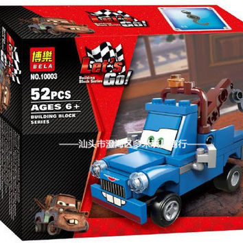 Bela 52PCS Classic Toys Cars Series Friendly Tow Blue Mater DIY Building Blocks Assembly Toys For Childs Boy