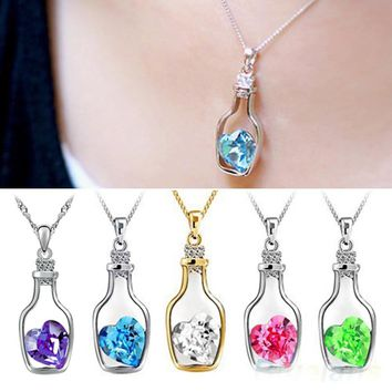 LNRRABC Fashion Romantic Love Heart Bottle Pendant Clavicle Chain Big Crystal Rhinestones Love Charms Necklaces for Women Gift