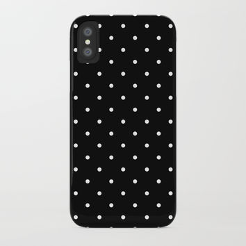 Small White Polka Dots with Black Background by CoolFunAwesomeTime