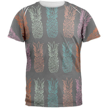 Pineapple Grey All Over Mens T Shirt
