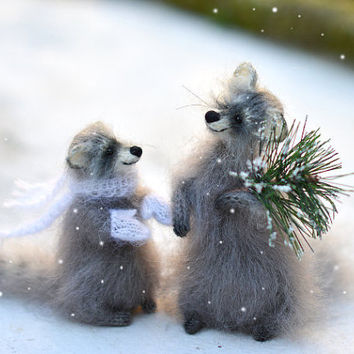 Two Knitted Raccoon with Christmas Tree raccoon toy gift Animal Soft Sculpture Handmade stuffed animals