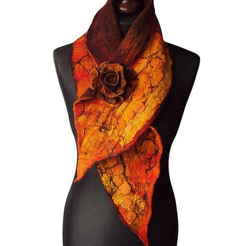 Nuno Felted Collar Colorful Felt Flower Hand felted Scarf Art to wear Neck Warmer Shawl Women's Gift Wool collar with Felted Brooch OOAK