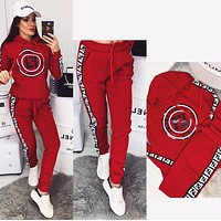 FENDI New Women Casual Long Sleeve Top Pants Two-Piece Red
