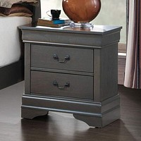 Louis Philippe Iii Contemporary Style Night Stand,Gray