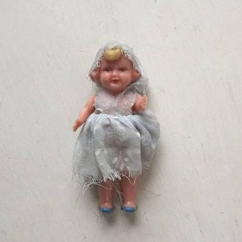 ON SALE - Miniature Celluloid Doll, Jointed Arms, Made in Italy, Vintage Dollhouse Baby Girl Toy