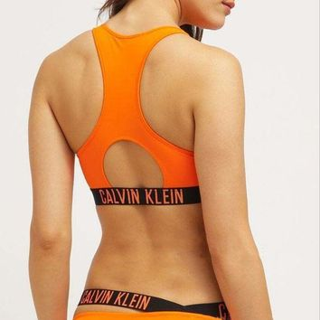 CK Calvin Klein Trending Summer Beach Women Stylish Orange Vest Style Two Piece Bikini Swimsuit Bathing I12838-1