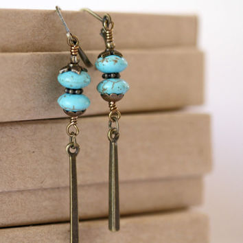 Turquoise Long Antiqued Brass Dangling Bar Boho Style Earrings