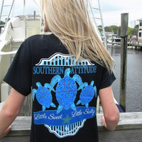 Country Life Outfitters Southern Attitude Black 3 Turtles Starfish Vintage Girlie Bright T Shirt