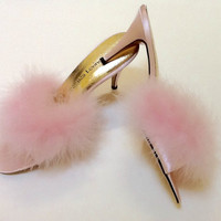 Vintage Jacques Levine Marabou Slippers / NOS / Pink High Heel  / SZ 10 / Bride / Shower Gift / Burlesque / Retro / High Fashion / Hipster