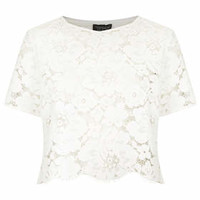 Scallop Lace Crop Tee - Cream