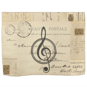 Vintage Music Clef French Postcard Towel