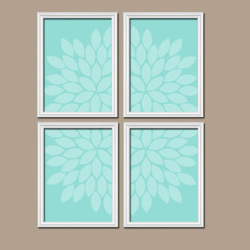Wall Art Canvas Artwork Bold Aqua Turquoise Flower Petal Burst Design Set of 4 Prints Dahlia Bloom Flowers Girl Bedroom Decor Floral
