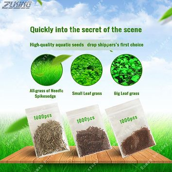 ZLKING 1000pcs Aquatic Seeds Grass Aquarium Landscape Small Big Leaf Mix Seeds Fish Tank Live Aquarium Plants Bonsai Decoration