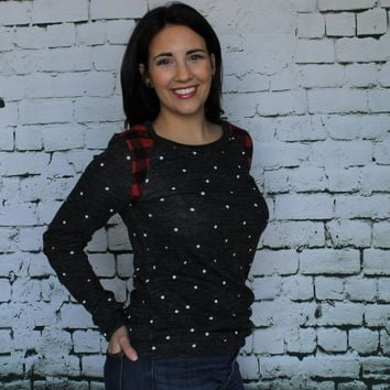 Polka Dot Elbow Patch Sweater