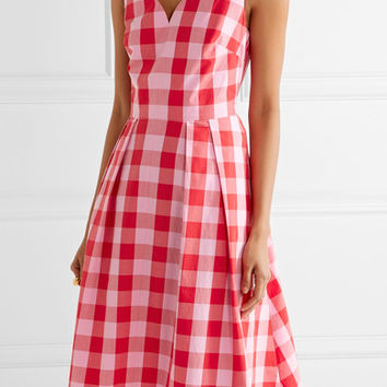 Draper James - Cutout gingham cotton-poplin dress