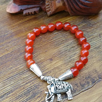 Original Collection- Silver Tone Chinese Elephant/Red Orange Beaded Hand Made Bracelet