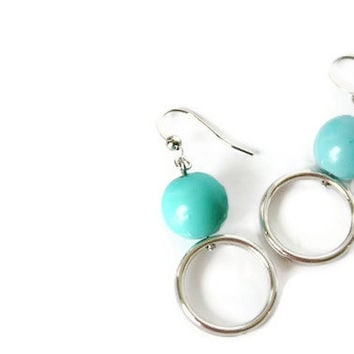 Blue Earrings with Aqua Beads and Nickel Free Hooks. Geometric Earrings. Round Earrings.