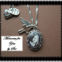Personalized - Custom - Antique Silver Plated Photo Necklace - Keepsake Memory Jewelry