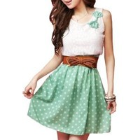 Allegra K Ladies Scoop Neck Sleeveless Lace Upper Detail Casual Dress Green XS from Allegra K at the Like Love Buy