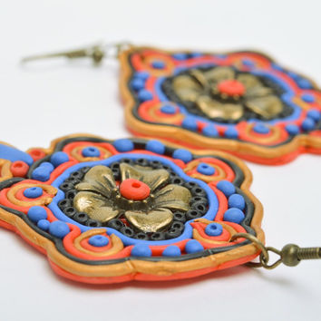 Stylish handmade massive polymer clay earrings with ornament in Orient style