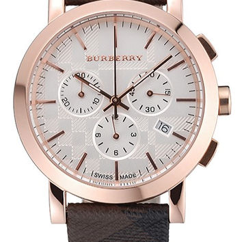 Burberry The City Classic Chronograph Silver Dial Smoked Trench Bracelet 622574