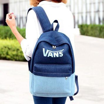 Gotopfashion VANS logo Breathable casual denim rucksack canvas backpack""