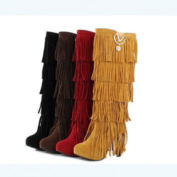 High Quality Multi-Layered Tassels Winter High Heels High Boots